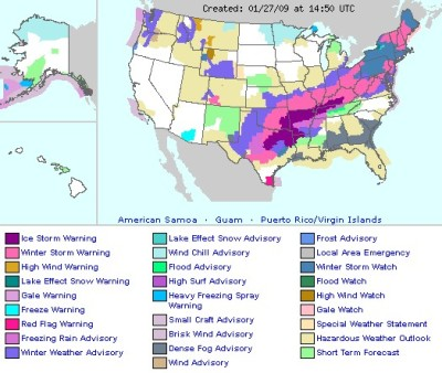 Weather Warnings Map Courtesy of NOAA