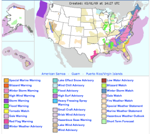 Weather Warnings Map from the National Weather Service