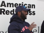 James Hodges is an enthusiastic advocate for his Pinetown neighborhood on Long Island, hard hit by Superstorm Sandy. The Red Cross is delivering relief supplies to the Martin Luther King Community Center there because local stores can't yet meet the needs.